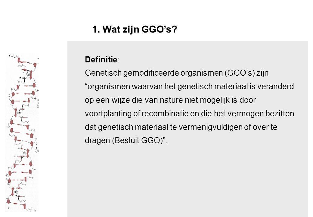 1. Wat zijn GGO's Definitie: