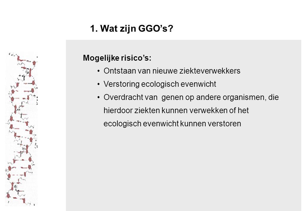 1. Wat zijn GGO's Mogelijke risico's: