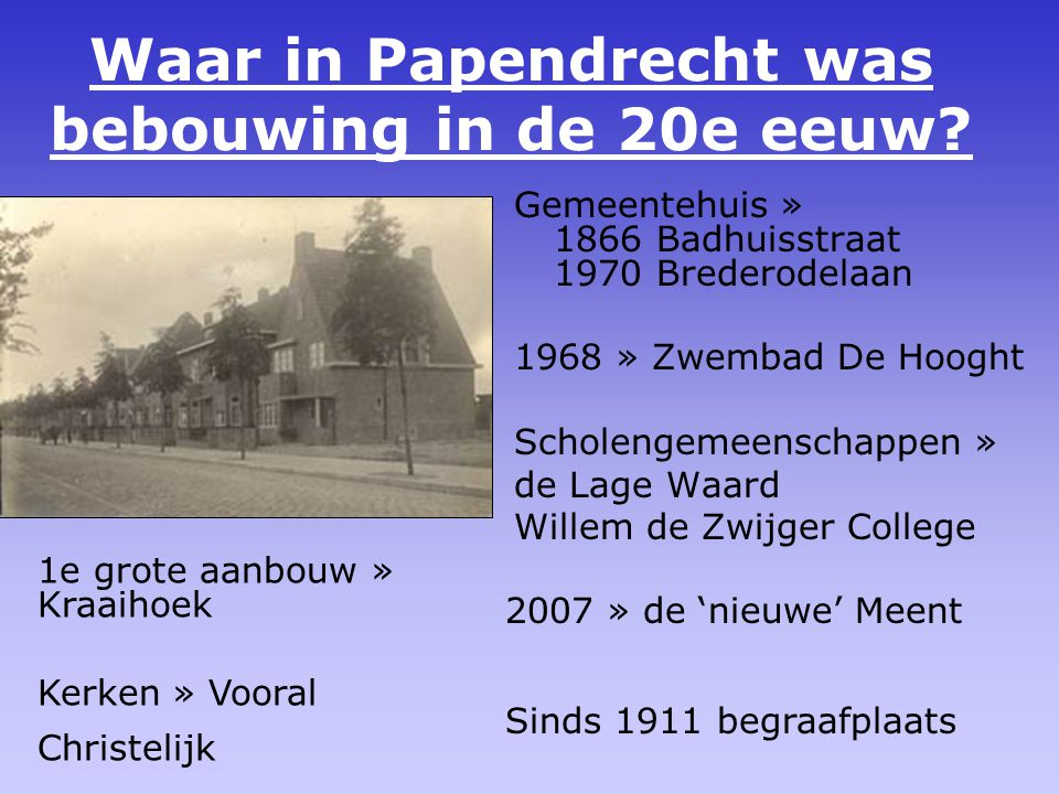 Waar in Papendrecht was bebouwing in de 20e eeuw