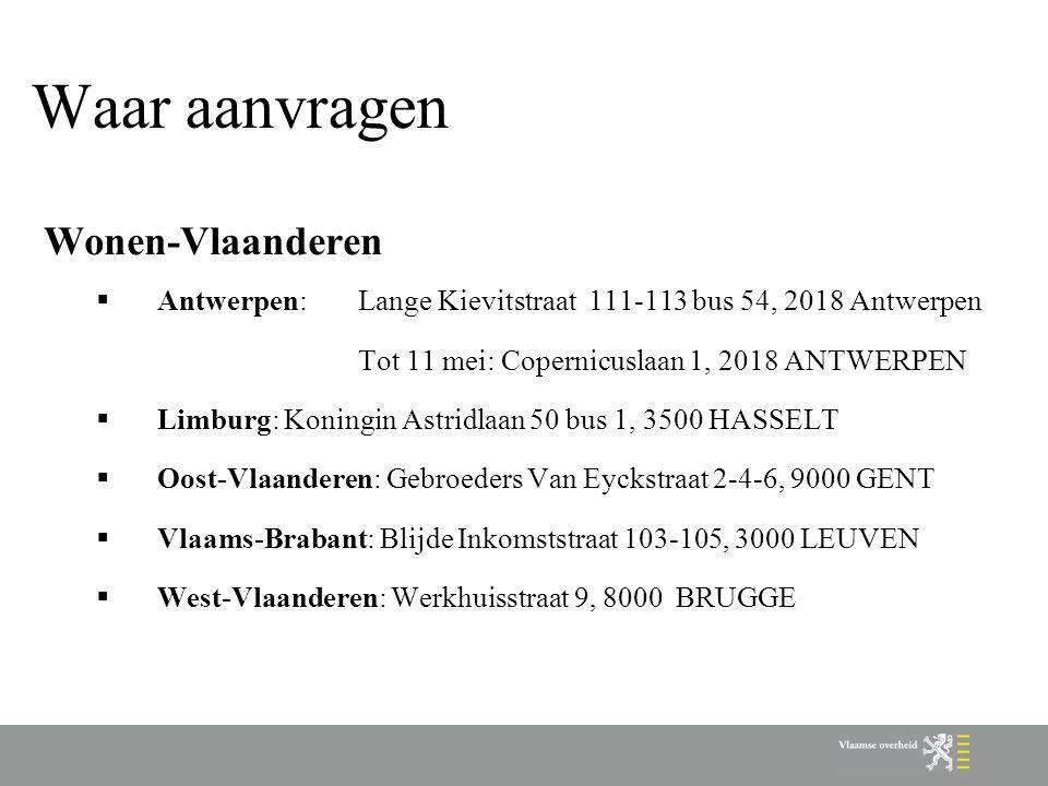 Waar aanvragen Wonen-Vlaanderen
