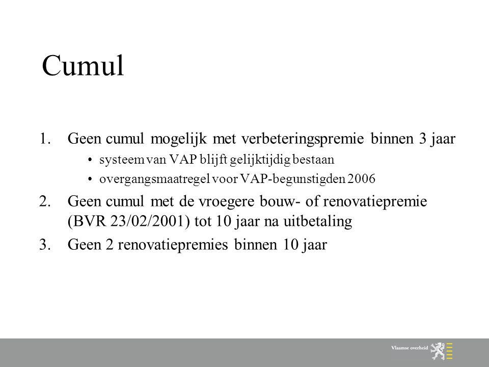 Cumul Geen cumul mogelijk met verbeteringspremie binnen 3 jaar