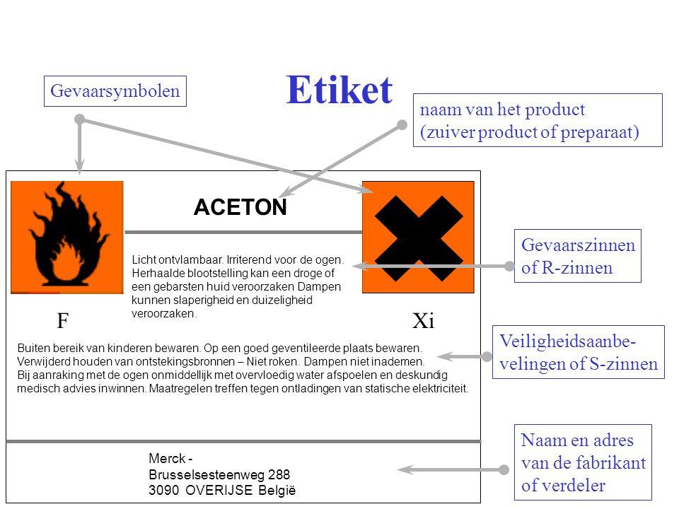 Etiket ACETON F Xi Gevaarsymbolen naam van het product
