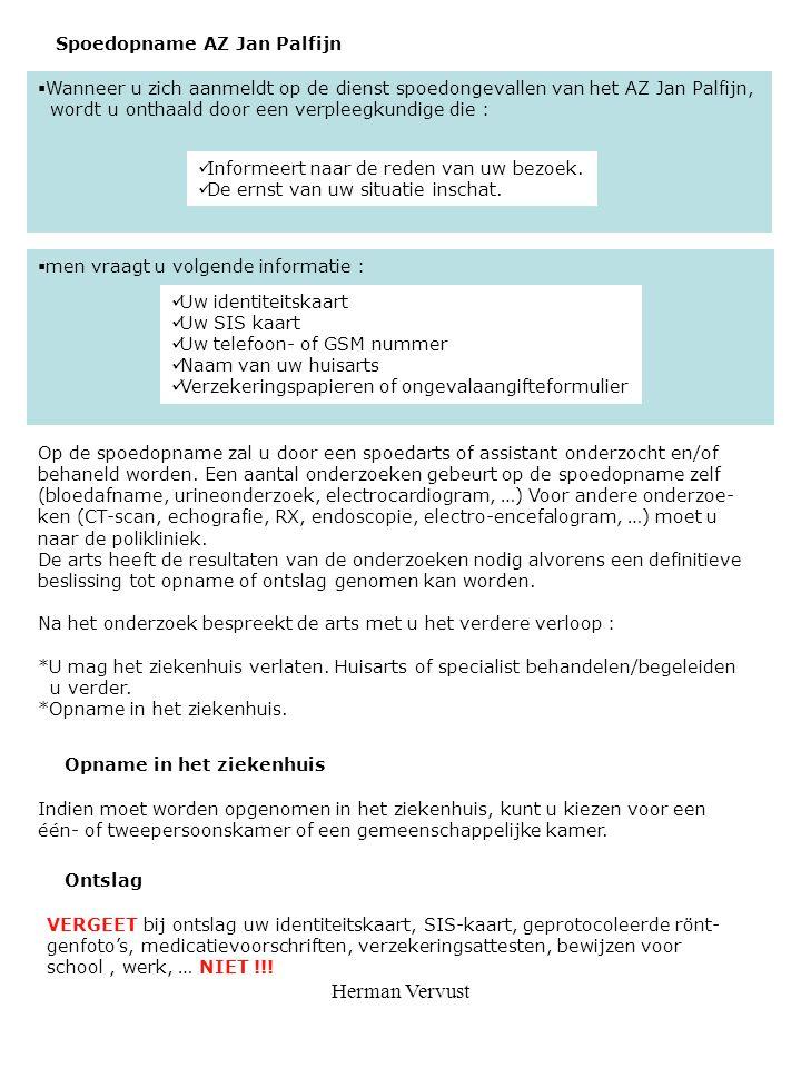 Herman Vervust Spoedopname AZ Jan Palfijn
