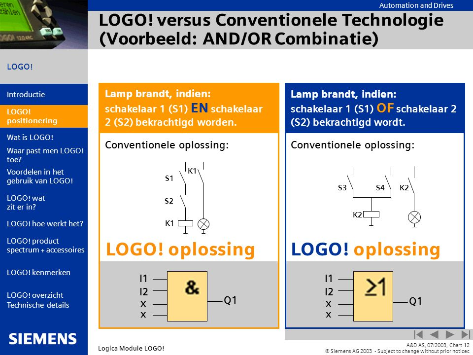 LOGO! versus Conventionele Technologie (Voorbeeld: AND/OR Combinatie)