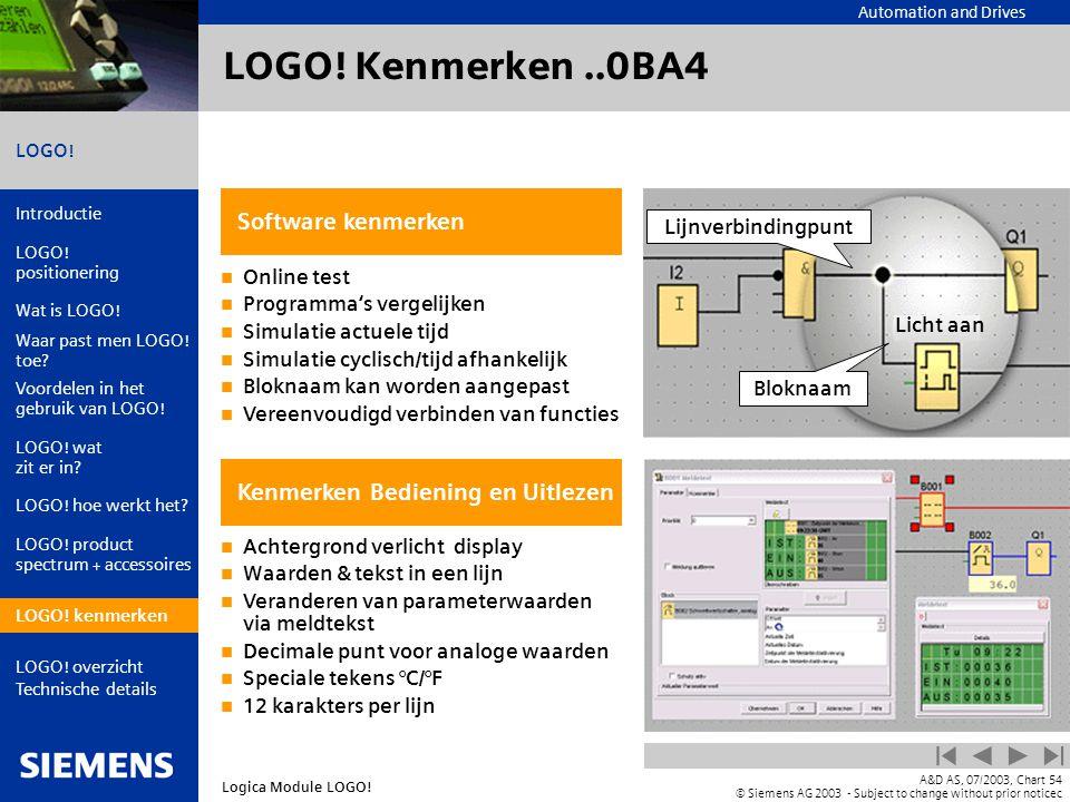 LOGO! Kenmerken ..0BA4 Software kenmerken