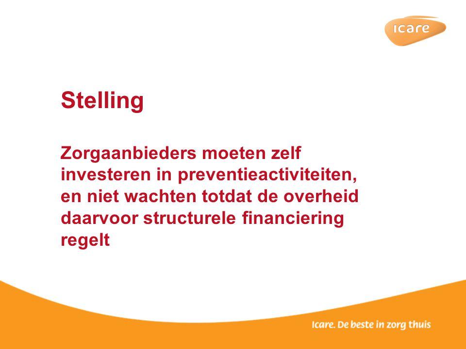 Stelling Zorgaanbieders moeten zelf investeren in preventieactiviteiten, en niet wachten totdat de overheid daarvoor structurele financiering regelt