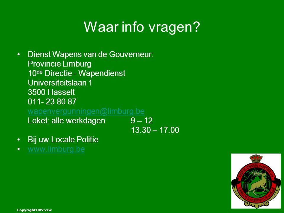 Waar info vragen Dienst Wapens van de Gouverneur: Provincie Limburg