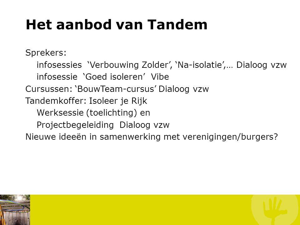 Het aanbod van Tandem Sprekers: