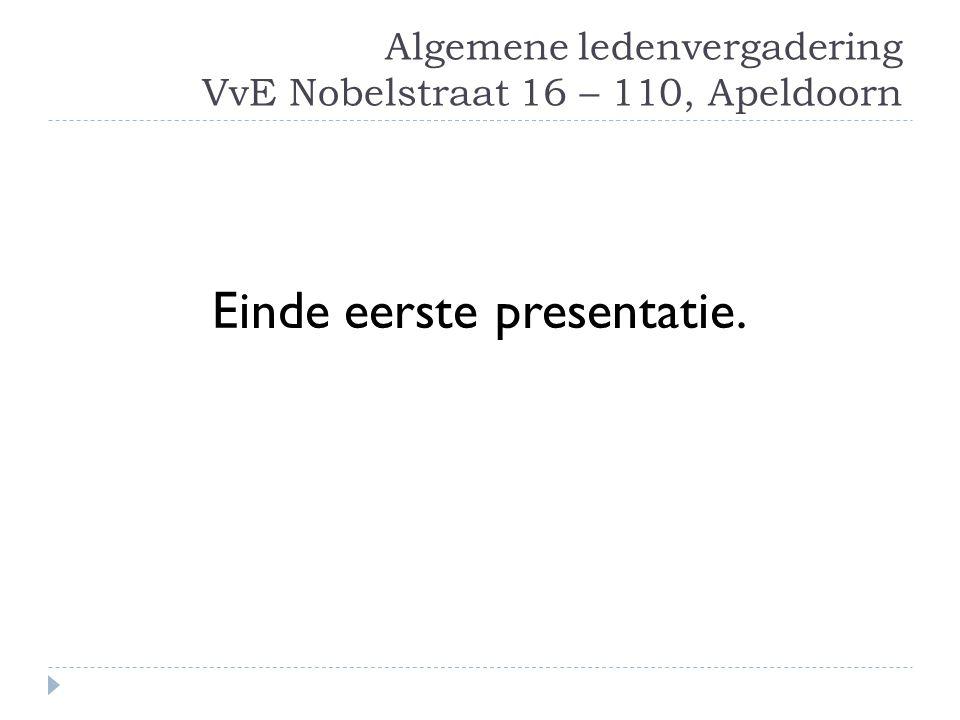 Algemene ledenvergadering VvE Nobelstraat 16 – 110, Apeldoorn
