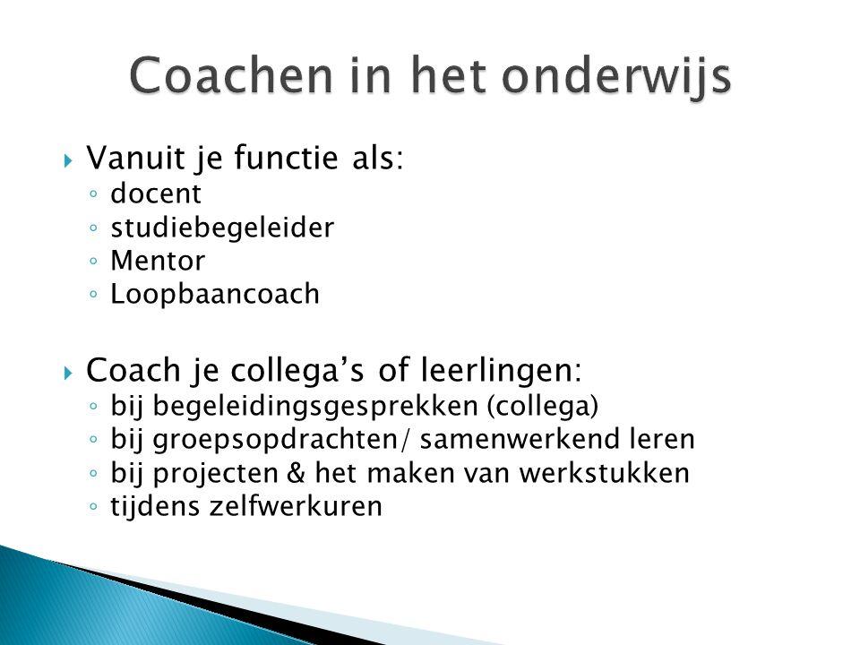 Coachen in het onderwijs