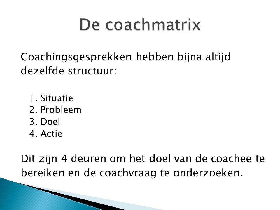 De coachmatrix Coachingsgesprekken hebben bijna altijd