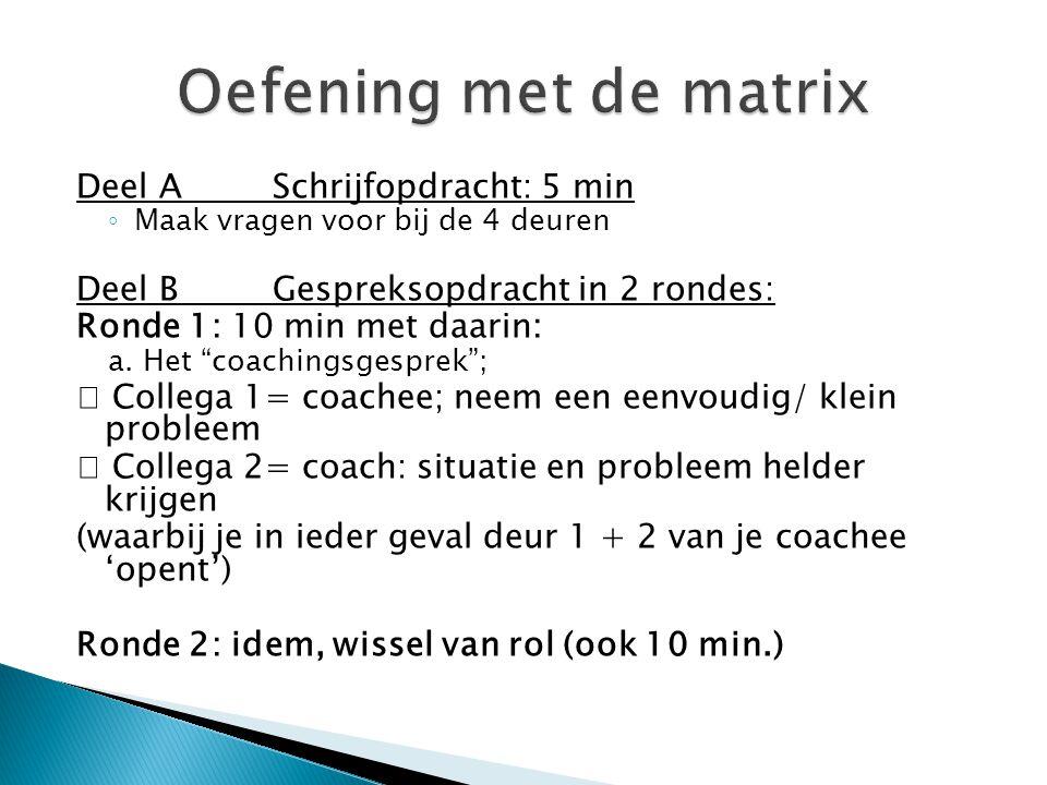 Oefening met de matrix Deel A Schrijfopdracht: 5 min