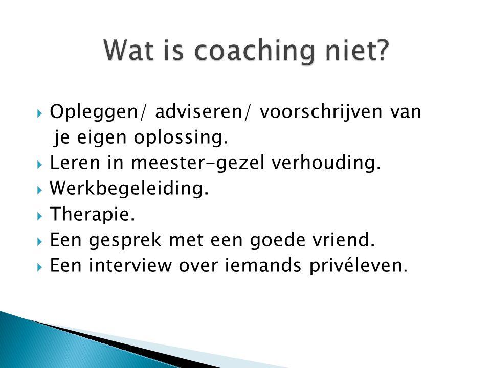 Wat is coaching niet Opleggen/ adviseren/ voorschrijven van