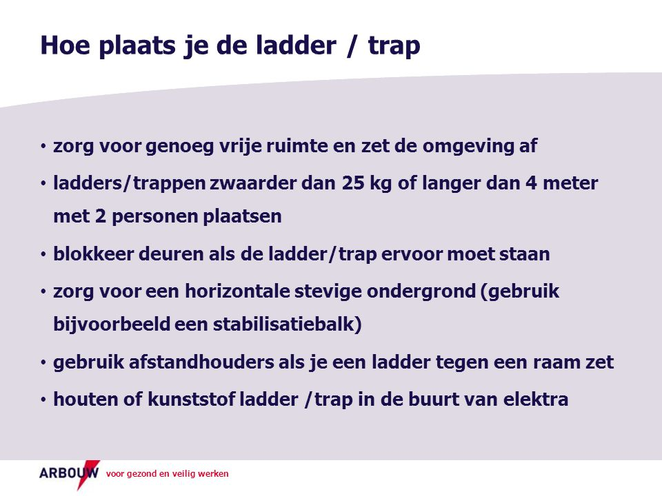 Hoe plaats je de ladder / trap
