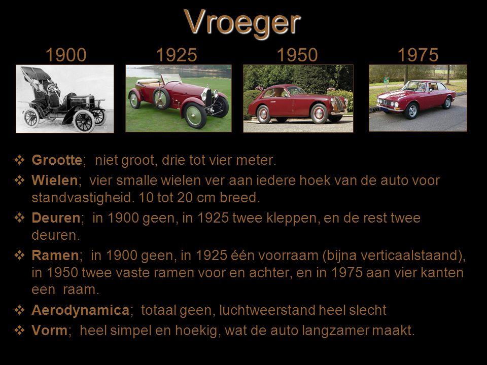 Vroeger 1900 1925 1950 1975 Grootte; niet groot, drie tot vier meter.