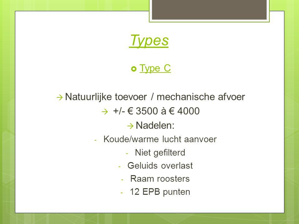 Types Type C Natuurlijke toevoer / mechanische afvoer