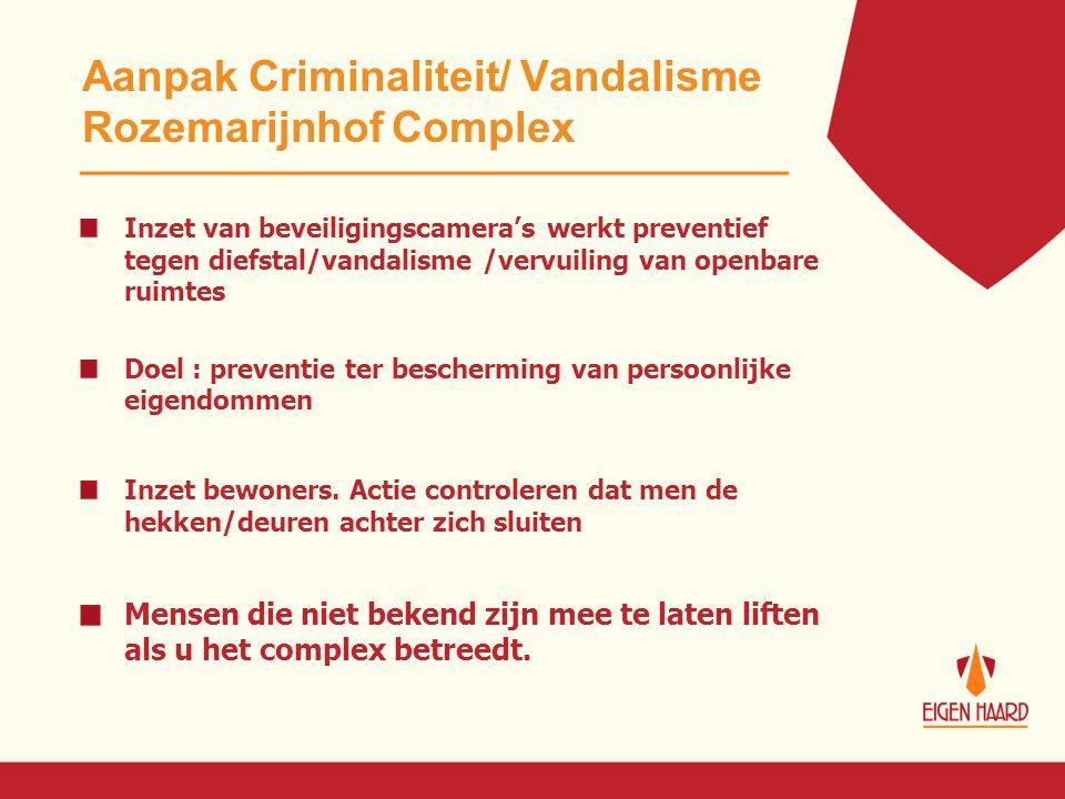 Aanpak Criminaliteit/ Vandalisme Rozemarijnhof Complex