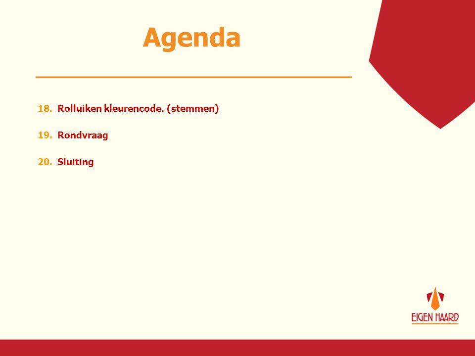 Agenda 18. Rolluiken kleurencode. (stemmen) 19. Rondvraag 20. Sluiting