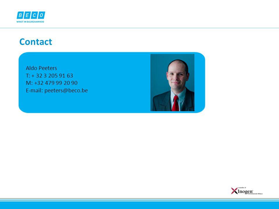 Contact Aldo Peeters T: + 32 3 205 91 63 M: +32 479 99 20 90