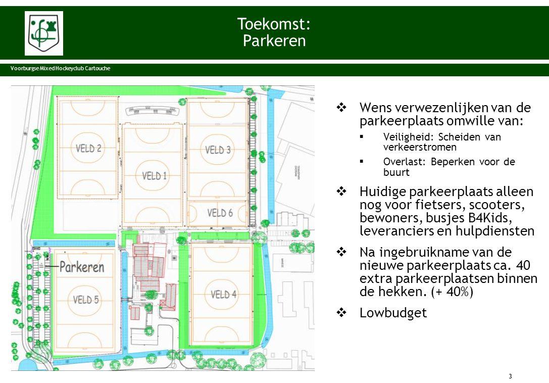 Toekomst: Parkeren. Voorburgse Mixed Hockeyclub Cartouche. Wens verwezenlijken van de parkeerplaats omwille van: