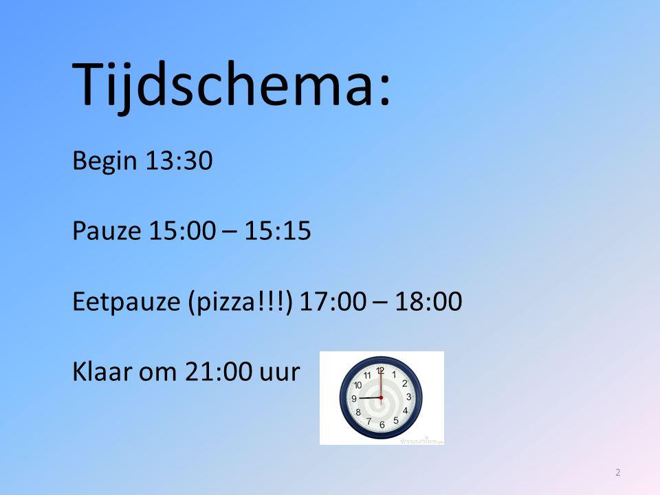 Tijdschema: Begin 13:30 Pauze 15:00 – 15:15