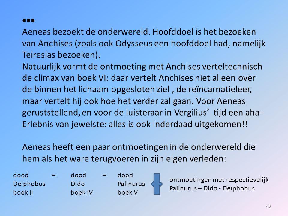  Aeneas bezoekt de onderwereld. Hoofddoel is het bezoeken van Anchises (zoals ook Odysseus een hoofddoel had, namelijk Teiresias bezoeken).
