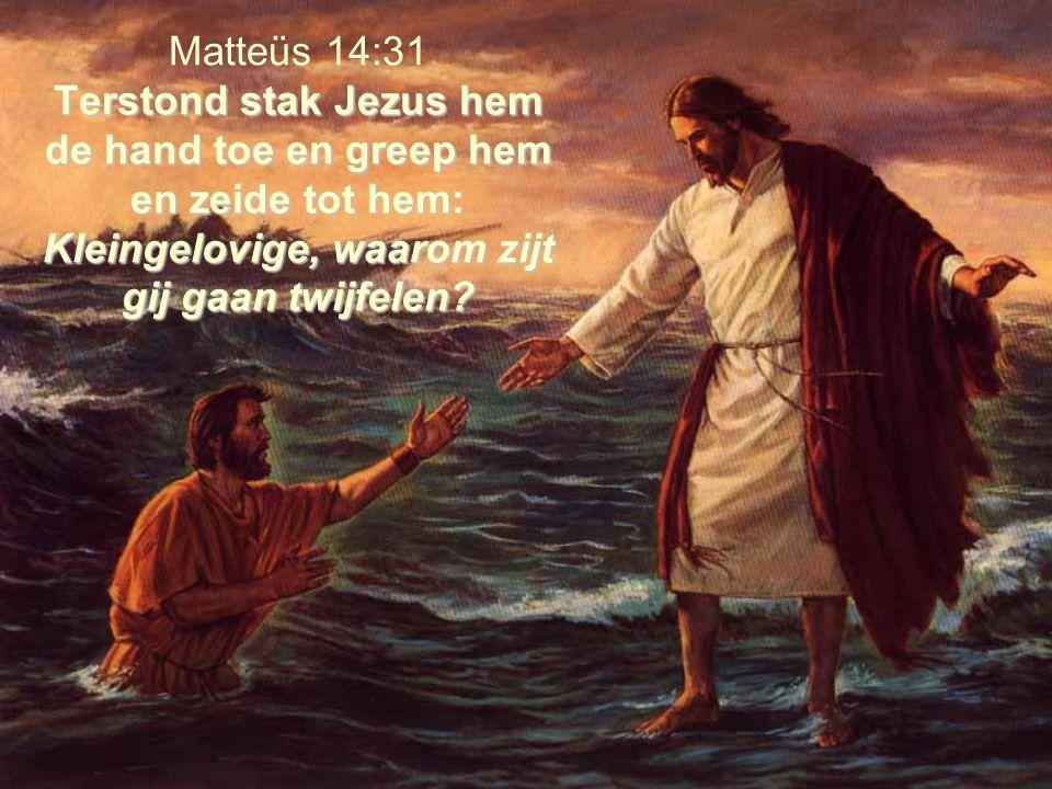 Matteüs 14:31 Terstond stak Jezus hem de hand toe en greep hem en zeide tot hem: Kleingelovige, waarom zijt gij gaan twijfelen