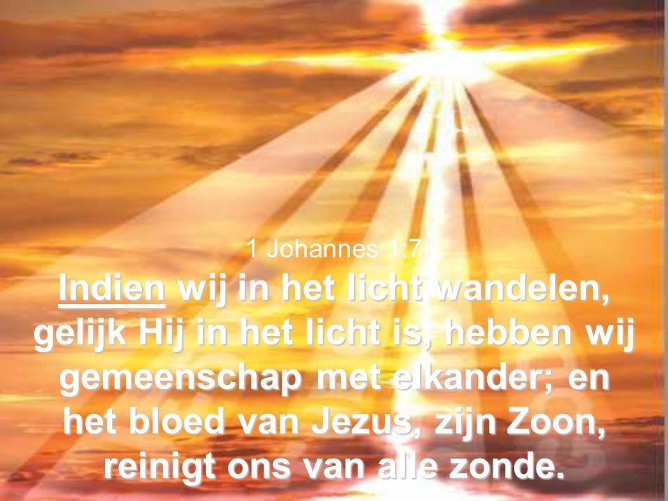 1 Johannes 1:7 Indien wij in het licht wandelen, gelijk Hij in het licht is, hebben wij gemeenschap met elkander; en het bloed van Jezus, zijn Zoon, reinigt ons van alle zonde.