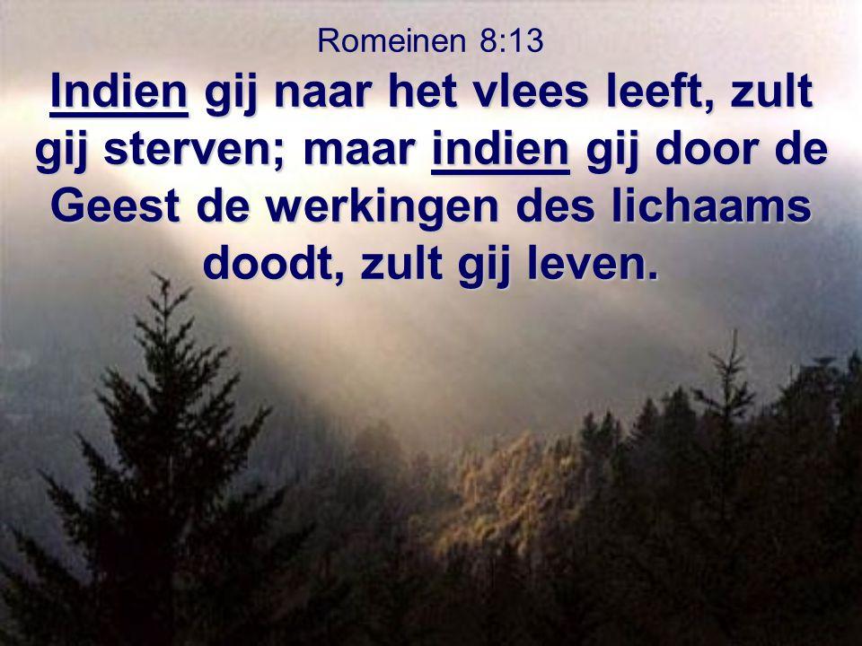 Romeinen 8:13 Indien gij naar het vlees leeft, zult gij sterven; maar indien gij door de Geest de werkingen des lichaams doodt, zult gij leven.