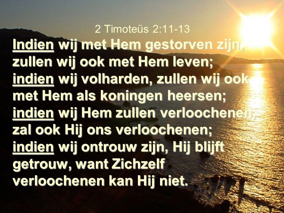 2 Timoteüs 2:11-13 Indien wij met Hem gestorven zijn, zullen wij ook met Hem leven; indien wij volharden, zullen wij ook met Hem als koningen heersen; indien wij Hem zullen verloochenen, zal ook Hij ons verloochenen; indien wij ontrouw zijn, Hij blijft getrouw, want Zichzelf verloochenen kan Hij niet.