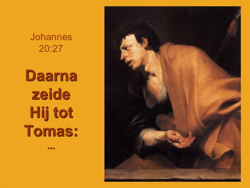 Johannes 20:27 Daarna zeide Hij tot Tomas: ...