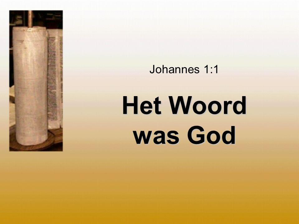 Johannes 1:1 Het Woord was God