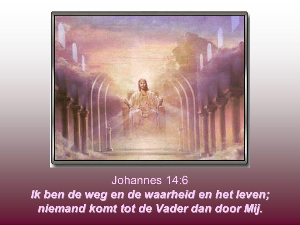 Johannes 14:6 Ik ben de weg en de waarheid en het leven; niemand komt tot de Vader dan door Mij.