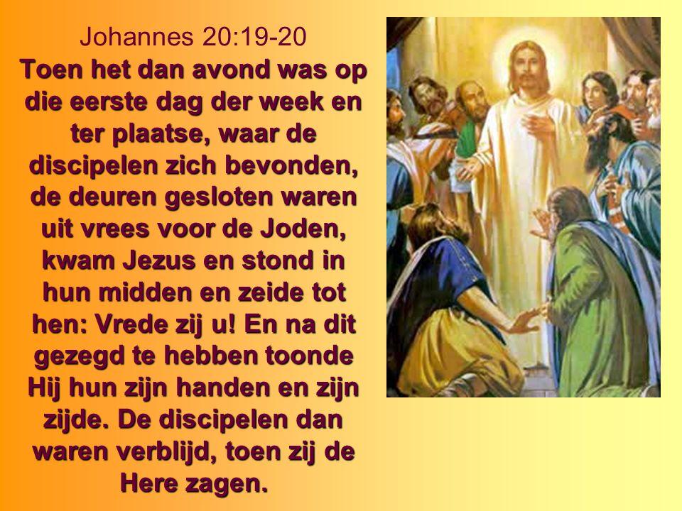 Johannes 20:19-20 Toen het dan avond was op die eerste dag der week en ter plaatse, waar de discipelen zich bevonden, de deuren gesloten waren uit vrees voor de Joden, kwam Jezus en stond in hun midden en zeide tot hen: Vrede zij u.