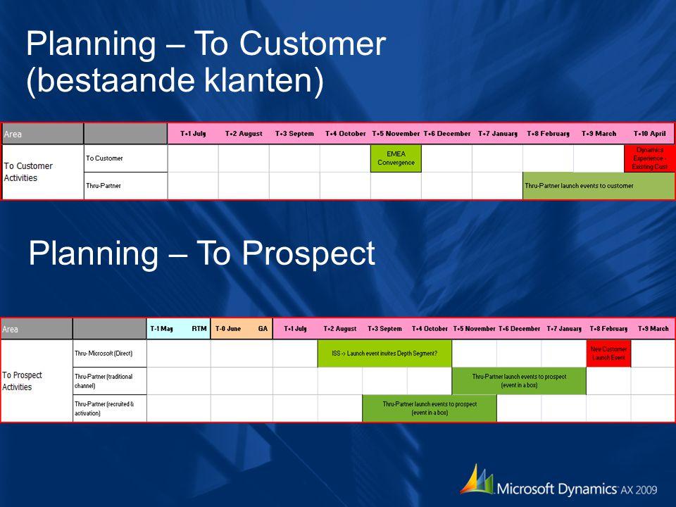 Planning – To Customer (bestaande klanten)