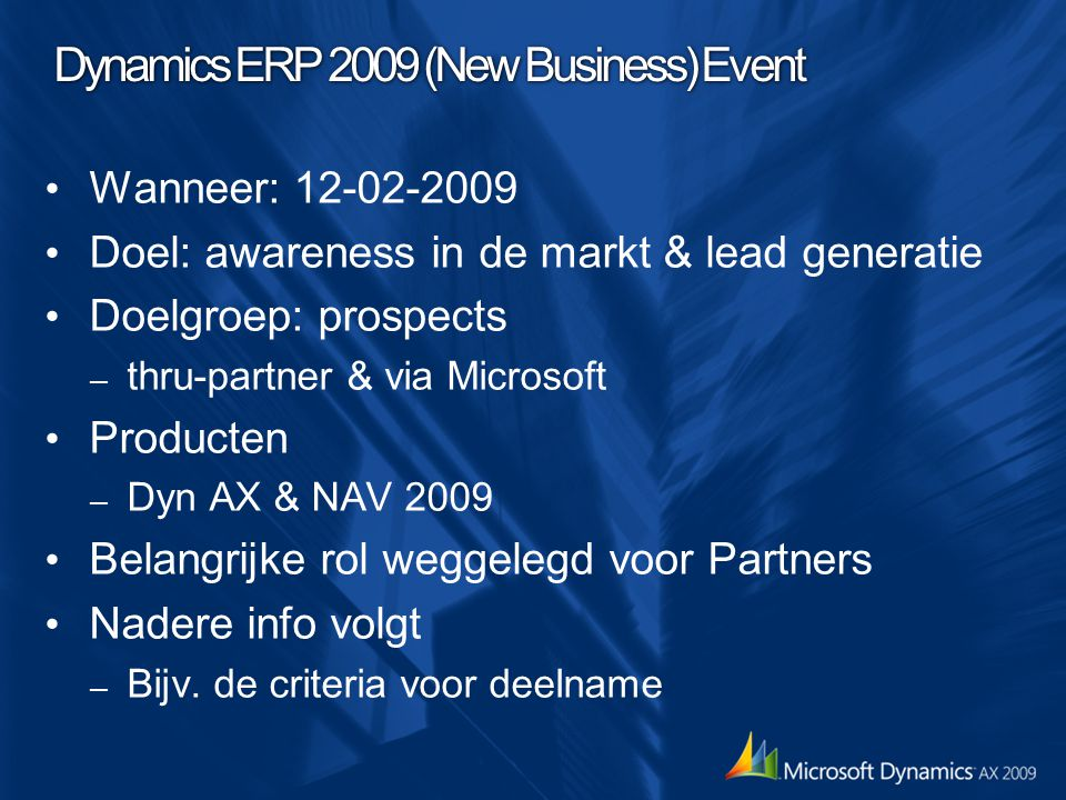 Dynamics ERP 2009 (New Business) Event