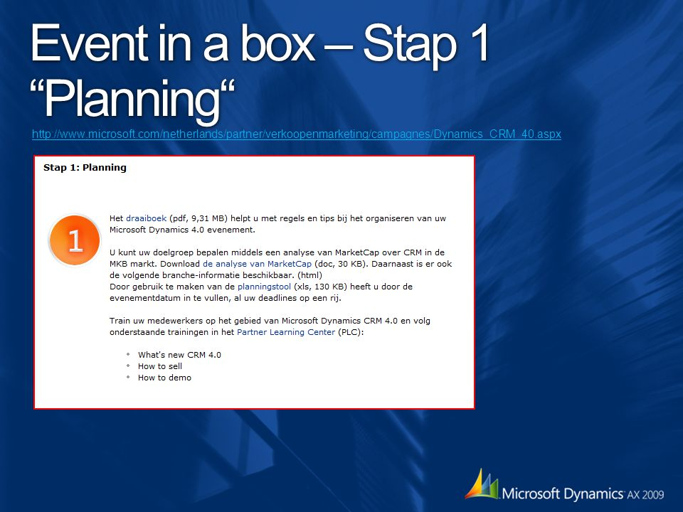 Event in a box – Stap 1 Planning