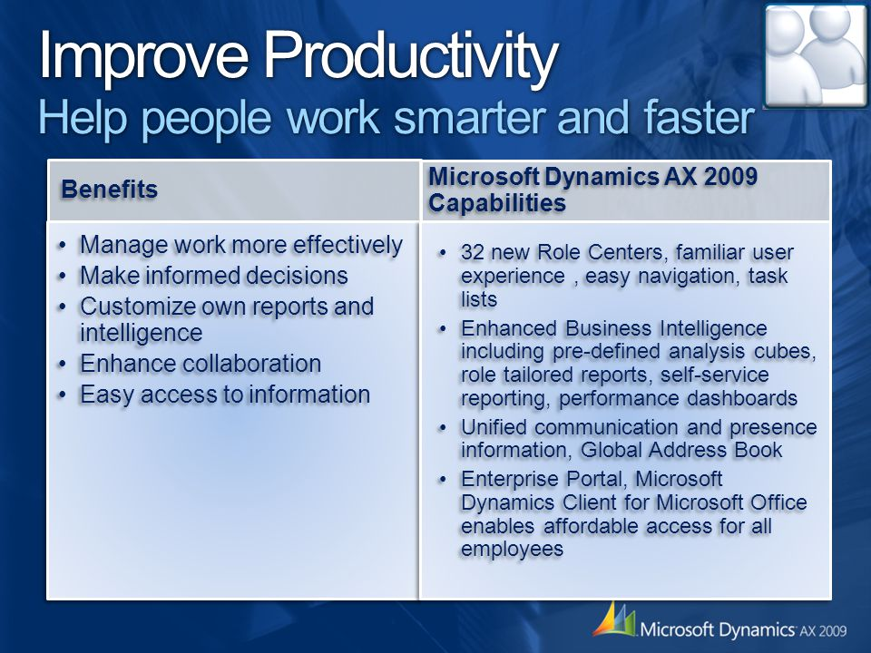 Improve Productivity Help people work smarter and faster