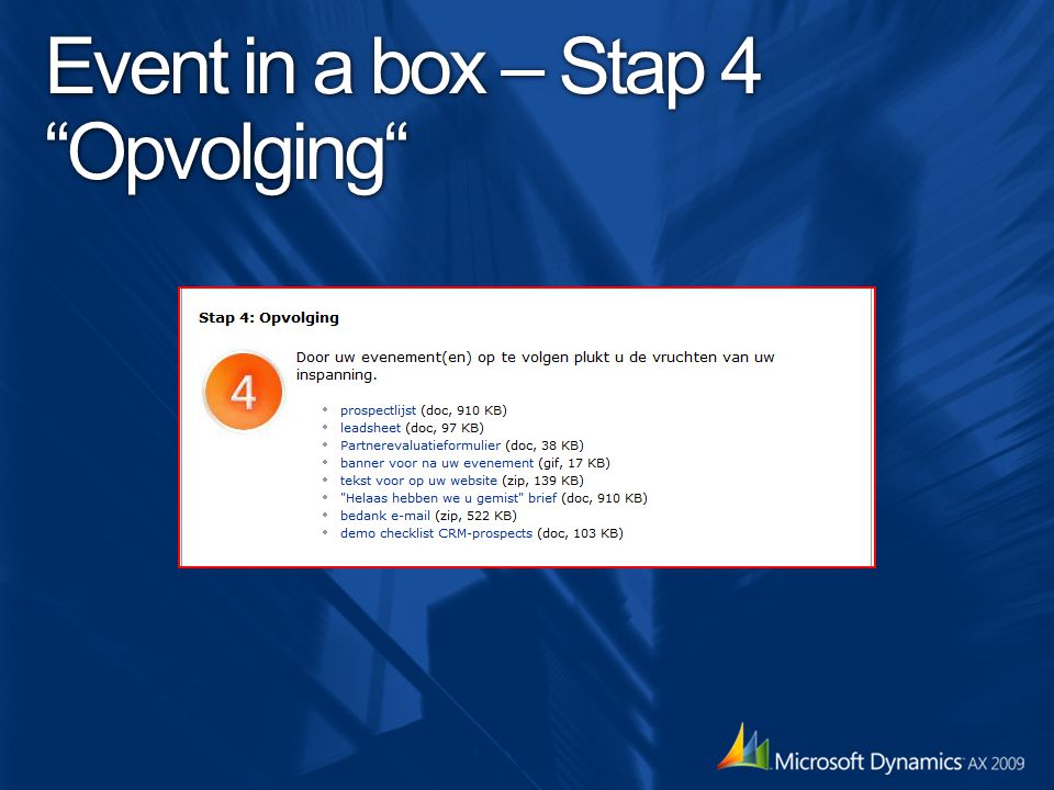 Event in a box – Stap 4 Opvolging