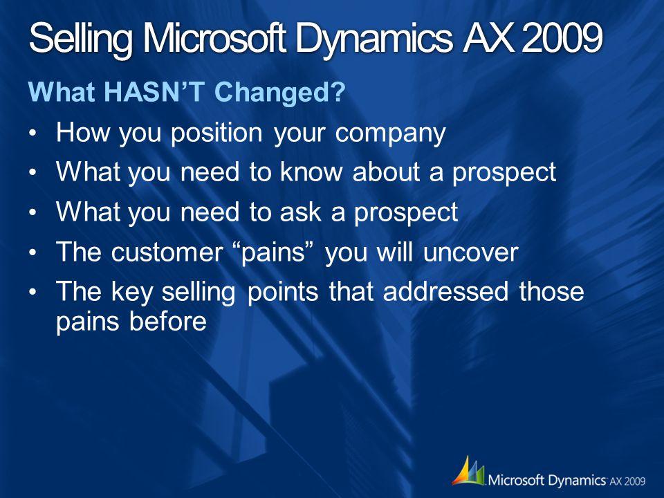 Selling Microsoft Dynamics AX 2009