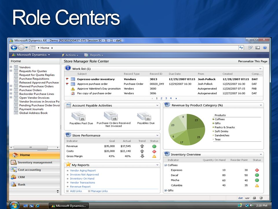 Role Centers Available in the Windows client or Enterprise Portal