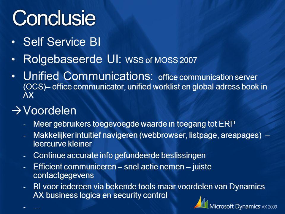Conclusie Self Service BI Rolgebaseerde UI: WSS of MOSS 2007