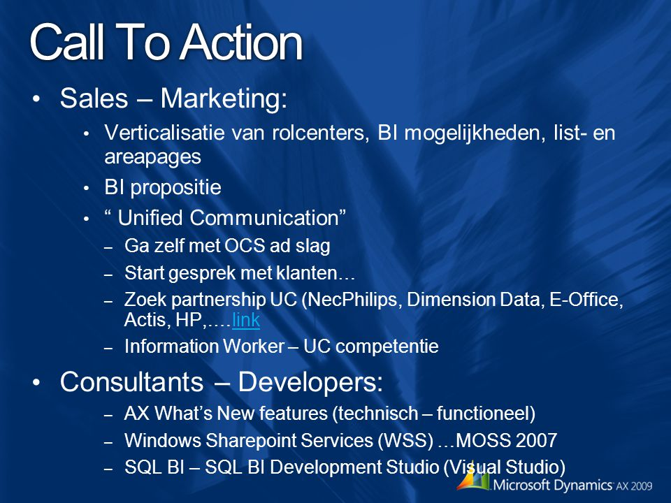 Call To Action Sales – Marketing: Consultants – Developers: