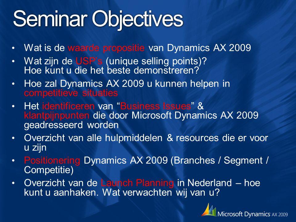 Seminar Objectives Wat is de waarde propositie van Dynamics AX 2009