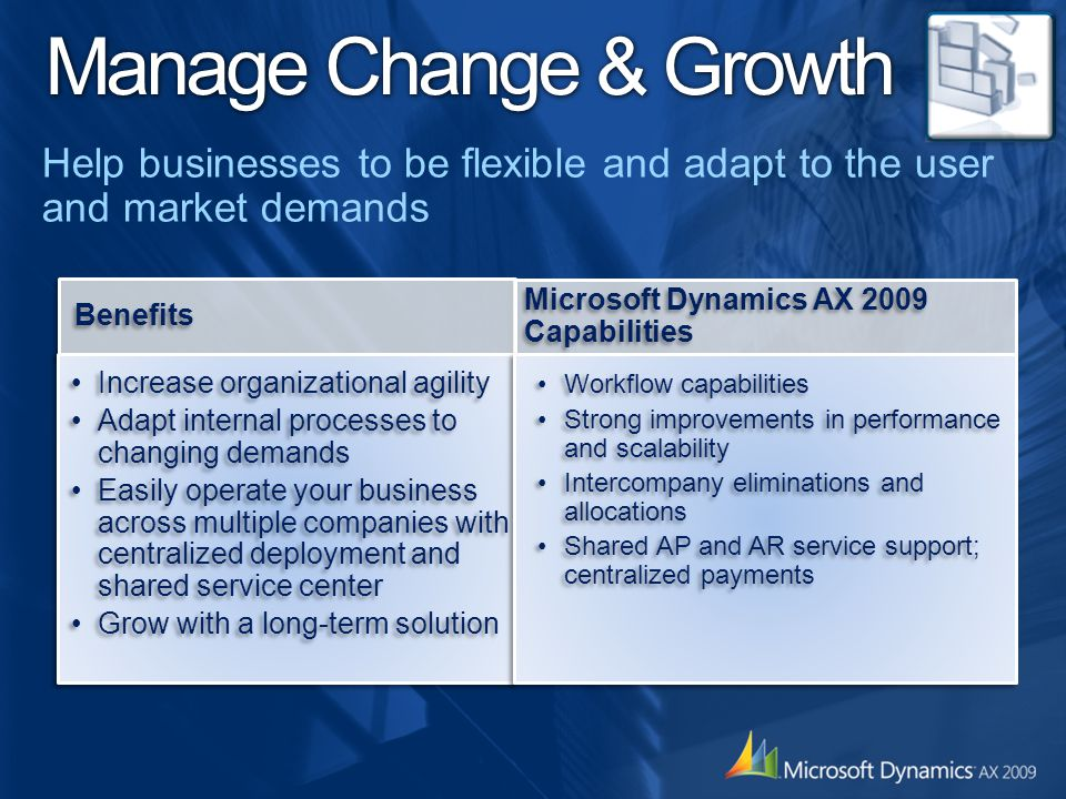 Manage Change & Growth Help businesses to be flexible and adapt to the user and market demands. Benefits.