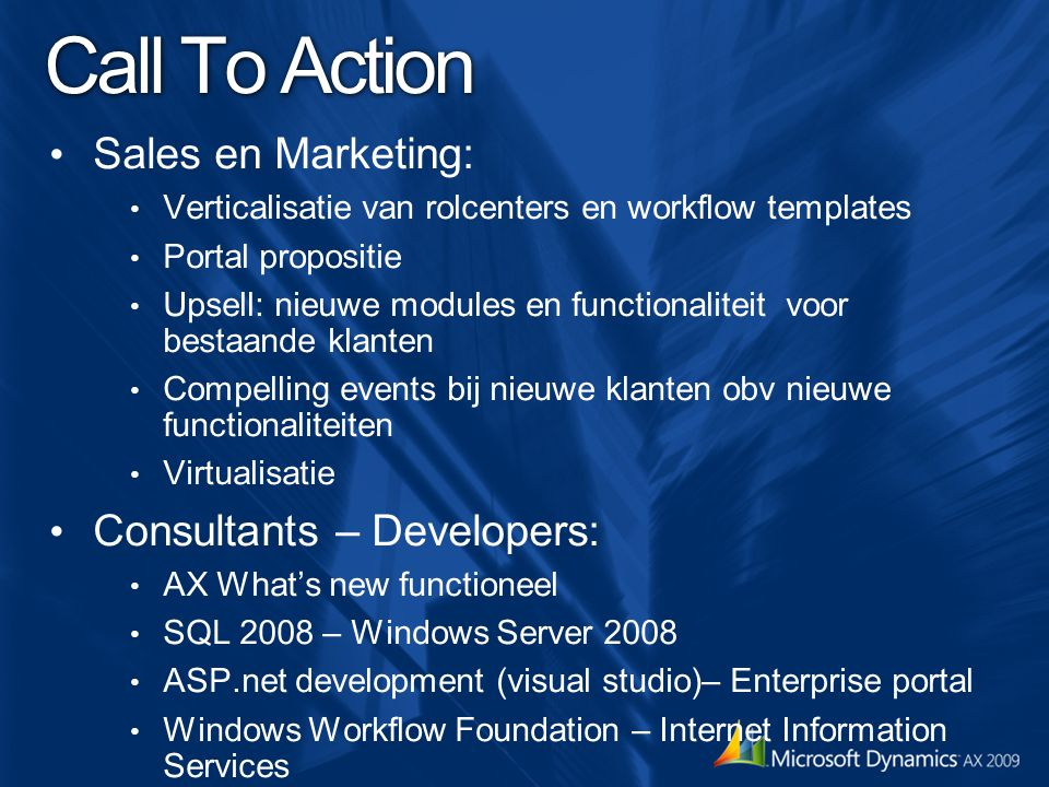 Call To Action Sales en Marketing: Consultants – Developers: