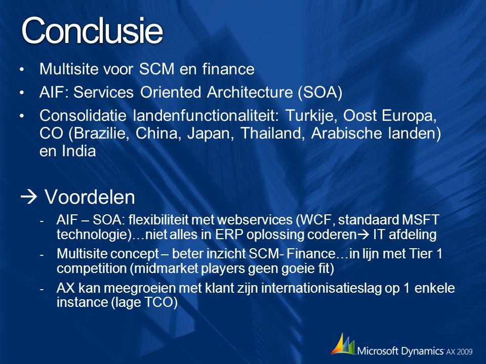 Conclusie  Voordelen Multisite voor SCM en finance
