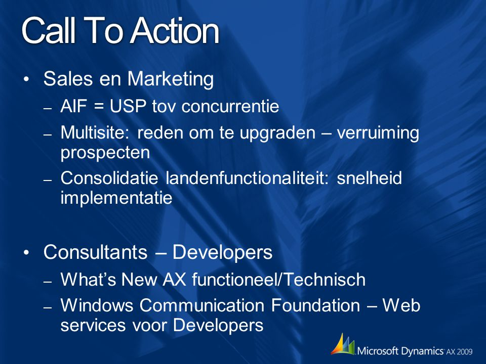 Call To Action Sales en Marketing Consultants – Developers