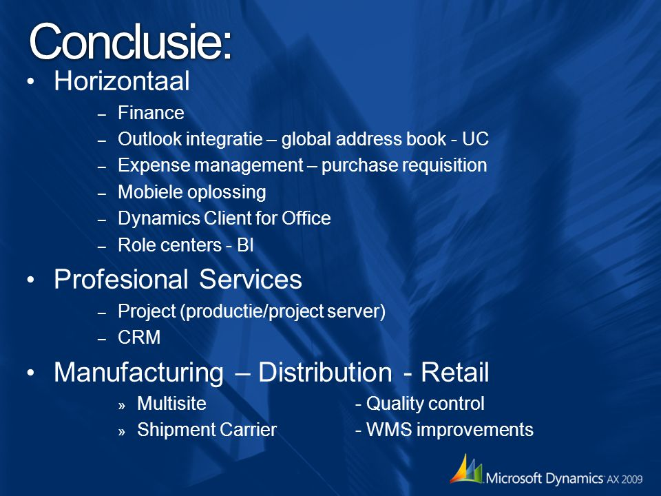 Conclusie: Horizontaal Profesional Services