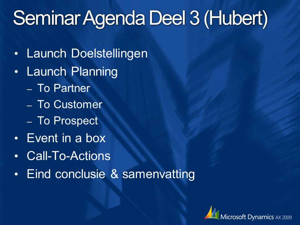 Seminar Agenda Deel 3 (Hubert)